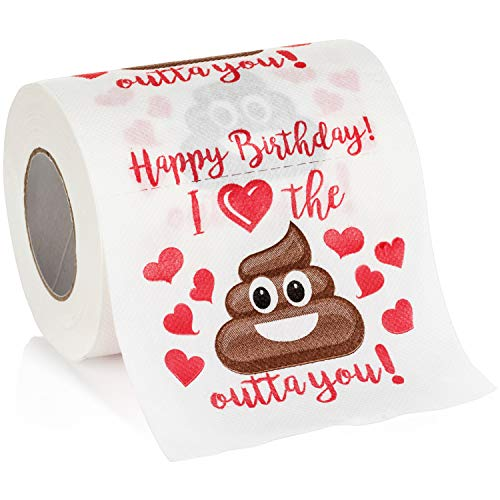 Maad Romantic Happy Birthday Novelty Toilet Paper - Funny Gag Birthday Gift for Him or Her (Men Birthday Gift Ideas)