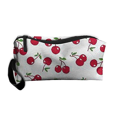 Red Cherry Cosmetic Bags Brush Pouch Makeup Bag Zipper Wallet Hangbag Pen Organizer Carry Case Wristlet - Cherry Hill Open Mall