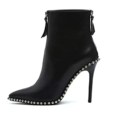 8bd118d81 Women's High Heel Ankle Shoe Zip Up Sexy Pointed Toe Genuine Leather Black  Short Boots (