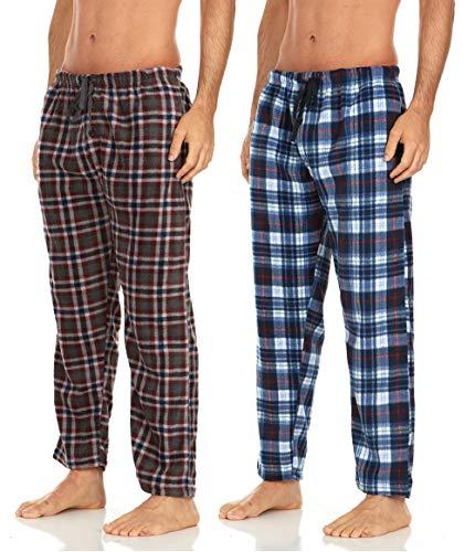 DARESAY 2 Pack of Men's Microfleece Pajama Pants/Lounge Wear Pockets, Brown/Blue, X-Large