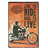 """Harley-Davidson : Live to Ride, Ride to Live, Metal Tin Sign, Vintage Style Wall Ornament Decor, Size 8"""" X 12"""""""