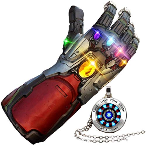 GOPOWR Endgame Iron Man Infinity Gauntlet 2 Replica Snap LED Light Up Toy Thanos Latex Glove Superhero Halloween Costume Cosplay w/Tony Stark Necklace Mens Womens Boy Girl Legends (Avengers-Silver)