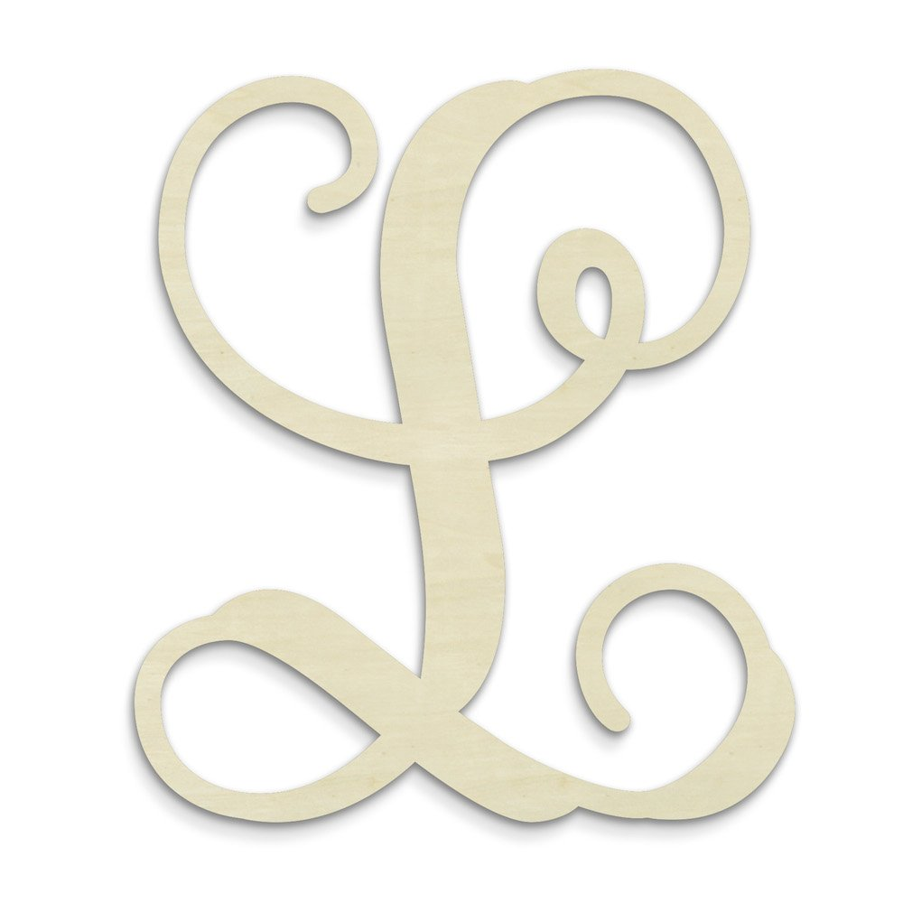 UNFINISHEDWOODCO Single Vine Unfinished Monogram L Decorative Letter, 13-Inch