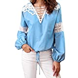 Creazrise Womens V-Neck Lantern Long Sleeve Tops Lace Crochet Casual Bandage Blouse Shirt (Blue,XL) (Blue, S)