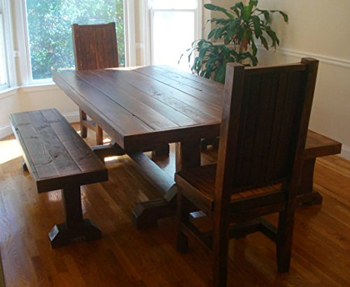 Pleasing Amazon Com Rustic Trestle Table Set W 2 Benches And 2 Home Remodeling Inspirations Cosmcuboardxyz