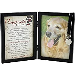 The Grandparent Gift Co. Pawprints Left By You Departed Dog Or Cat Pet Memorial Frame With Blank Tag