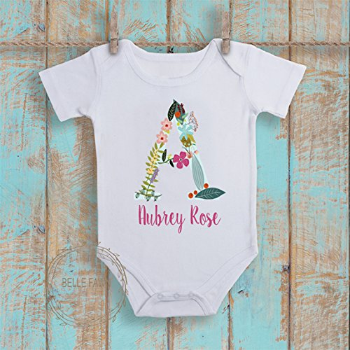 Amazon floral monogram onesie baby shower gift baby girl floral monogram onesie baby shower gift baby girl bodysuit personalized first birthday shirt negle Choice Image