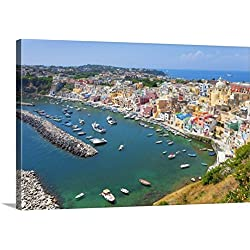 Canvas On Demand Premium Thick-Wrap Canvas Wall Art Print entitled Marina Corricella, Procida Island, Bay of Naples, Campania, Italy