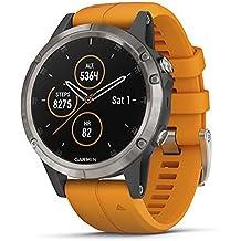 Garmin Fenix 5 Plus, Premium Multisport GPS Smartwatch, Features Color TOPO Maps, Heart Rate Monitoring, Music and Garmin Pay, Titanium with Orange