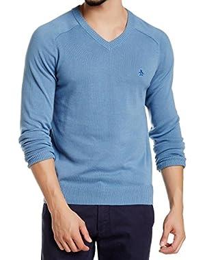 Penguin Mens Solid Pullover Knit V-Neck Sweater Blue XL