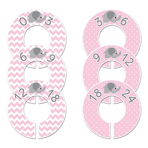 Closet Doodles C39 Pink Elephant Baby Girl Clothing Dividers Set of 6 Fits 1.25 Rod