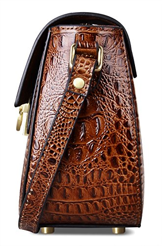 Shoulder Women PIFUREN Handbags Brown Bags Crossbody C68725 for Crocodile Leather 7BBIYqga