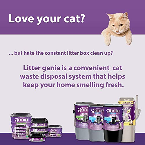 Large Product Image of Litter Genie Plus Pail, Ultimate Cat Litter Disposal System, Locks Away Odors, Includes One Refill, Silver