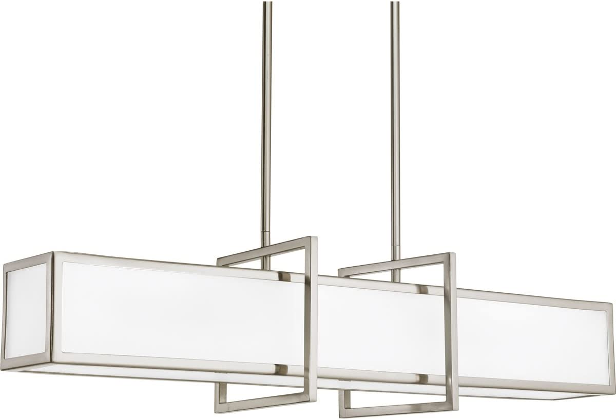 Progress Lighting P3898-09 Contemporary Modern Four Light Linear Pendant from Haven Collection in Pwt, Nckl, B S, Slvr. Finish, 34.00 inches, Brushed Nickel