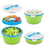 Smart Planet Eco Collapsible Salad Bowl, 65 oz, Blue/Green