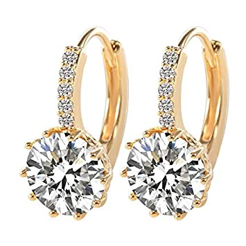 OBELLA BOUTIQUE 2018 Luxury Ear Earrings For Women 10 Colors Round With Cubic Zircon Charm Flower Earrings Women Jewelry Gift