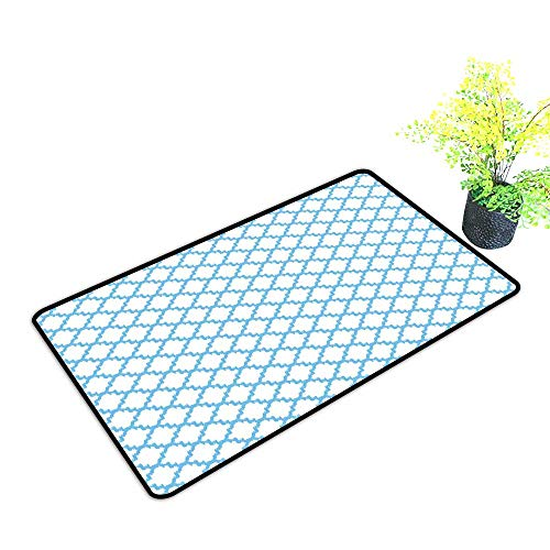 Sunburst Lattice Trellis - Diycon Interesting Doormat Quatrefoil Trellis with Asian Ikat Effects and Grungy Look Moorish Ethnic Lattice W31 xL47 Durable Pale Blue White