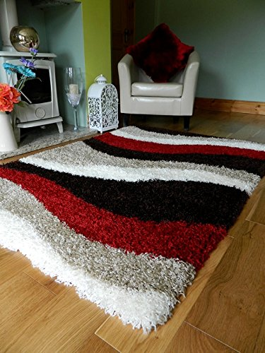 Amazon Com A C Milan Red Brown Cream Shaggy Rugs New Small Large