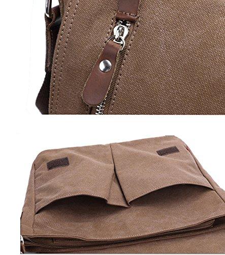 Bolso de Crossbody de la lona del vintage de los hombres Bolsa Messenger del ordenador portátil (Brown2) Brown2