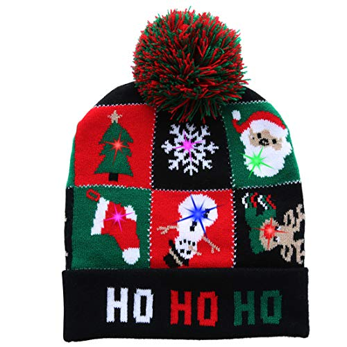 W-plus Ugly LED Christmas Hat Novelty Colorful Light-up Stylish Knitted Sweater Xmas Party Beanie Cap (Xmas -