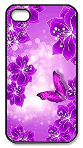 iPhone 4 4s Case, iPhone 4 4s Cases - Purple Butterfly and Flowers PC Polycarbonate Hard Case Back Cover for iPhone 4 4sšCBlack