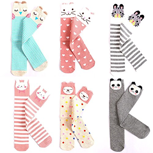 EIAY Shop Kids Cotton Socks Knee High Stockings Cute Cartoon Animals for 3-8 Year Olds (6 Pack) (Christmas Gifts For 3 Year Old Girl)