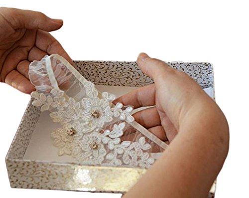 ASA Bridal Design Handmade Lace Wedding Garter-Applique white