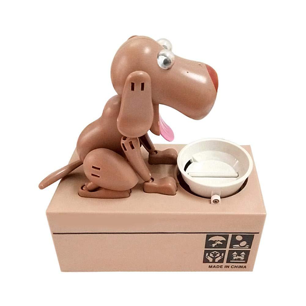 GLOBEAGLE salvadanaio Hungry Eating Dog Coin Risparmio di Denaro Box Choken Robotic MEC, Brown, 15 * 8 * 15cm/ 5.91 * 3.15 * 5.91in