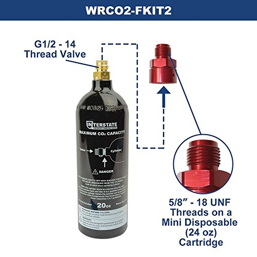 Interstate Pneumatics WRCO2-FKIT2 20 Oz. CO2 Pin Valve Cylinder Tank Paintball with CO2 Disposable Mini Cartridge Conversion Adapter by Interstate Pneumatics