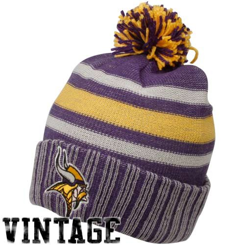 NFL Classics Cuffed Pom Knit Hat - KD97Z, Minnesota Vikings, One Size Fits All