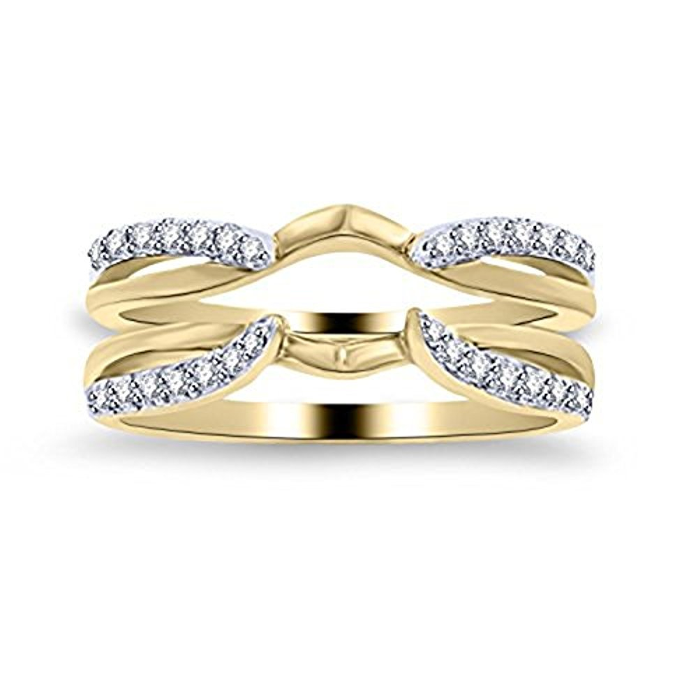 1/4 ct Simulated Diamond Enhancer Solitaire Engagement Ring 14k Yellow Gold Plated Guard Wrap Jacket .925 Sterling Silver