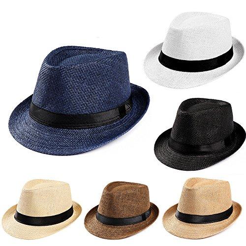 Summer Beach Straw Hat,Fashion Design Unisex Trilby Gangster Cap Beach Sun Straw Hat Band Sunhat Black]()