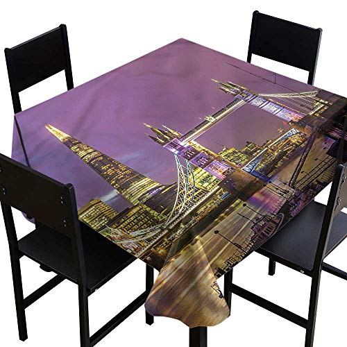 London Spillproof Tablecloth Tower Bridge in London Party Decorations Table Cover Cloth 70 x 70 Inch -