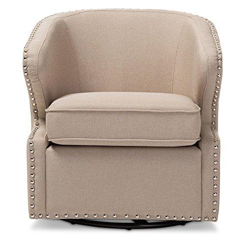 Baxton Studio Finley Mid Century Modern Fabric Upholstered Swivel Armchair 516vIPSk1YL
