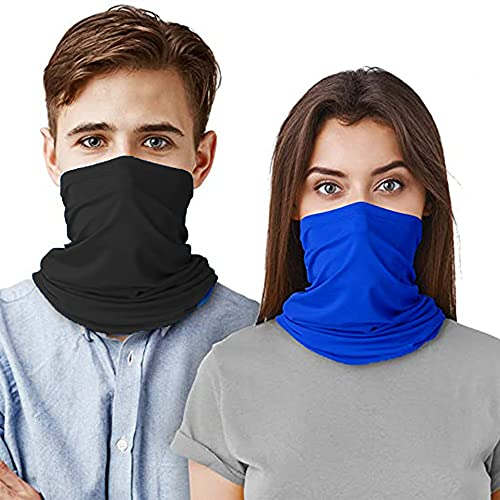 Bandana Neck Gaiters Multifunction Headwear Elastic Tube Scarf Face Shield Headband Snood UV Resistence for Outdoors Sports 2 PCS Black & Blue