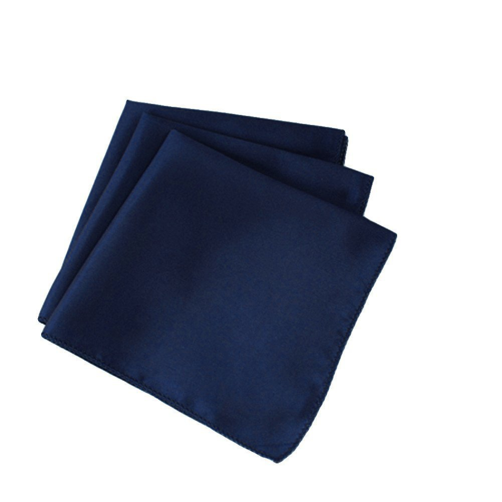 THE WD Pack of 75 Wedding 20''X 20'' Square Satin Table Napkin or Handkerchief Dinner Napkins for Wedding Banquet, Home Parties Decoration (Navy Blue)
