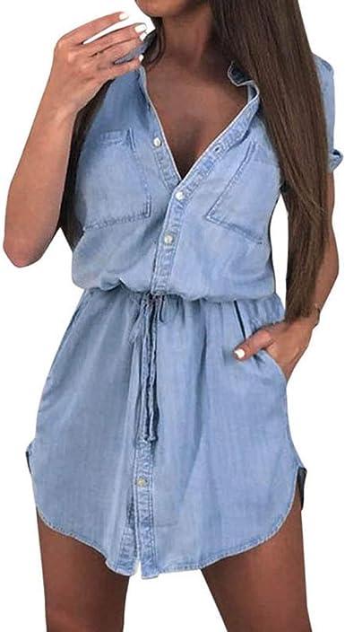POLP Vestidos de Fiesta Mujer Cortos Sexy Camisa de Manga Corta de Las Mujeres Vestido de Verano botón Informal Mini Novio Ropa de Mujer Vestidos Verano Falda Vaquera S/M/L/XL: Amazon.es: Ropa y