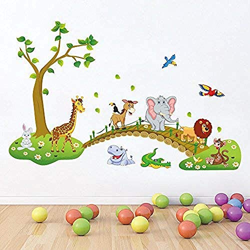 Jungle Woodland Monkey, Squirrel and owl Swing Game on Colorful Tree Wall Decal Wall Sticker (Colorful The Squirrel Owl Monkeys)