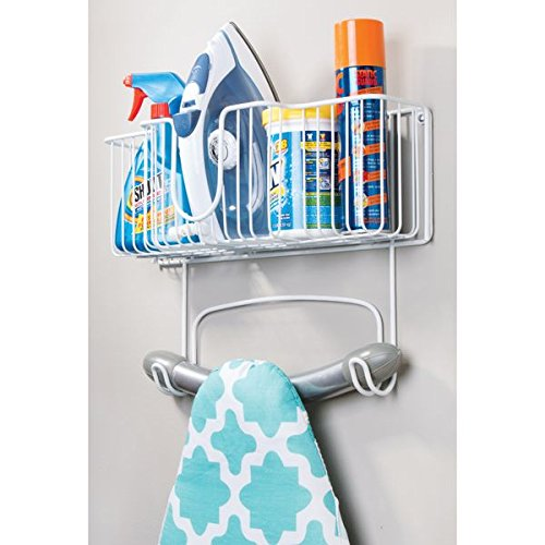 mDesign Laundry Room Wall Mount Ironing Board Holder with Large Basket - White