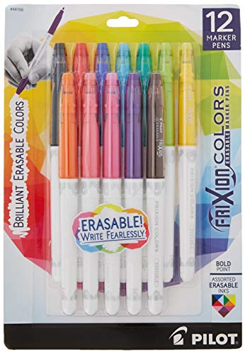 Pilot FriXion Colors Erasable Marker Pen Bold Point (1.) Assorted Ink 12-pk; Too Much, Uneven, or The Wrong Color of Marker? Make Mistakes Disappear with America's #1 Selling Pen Brand