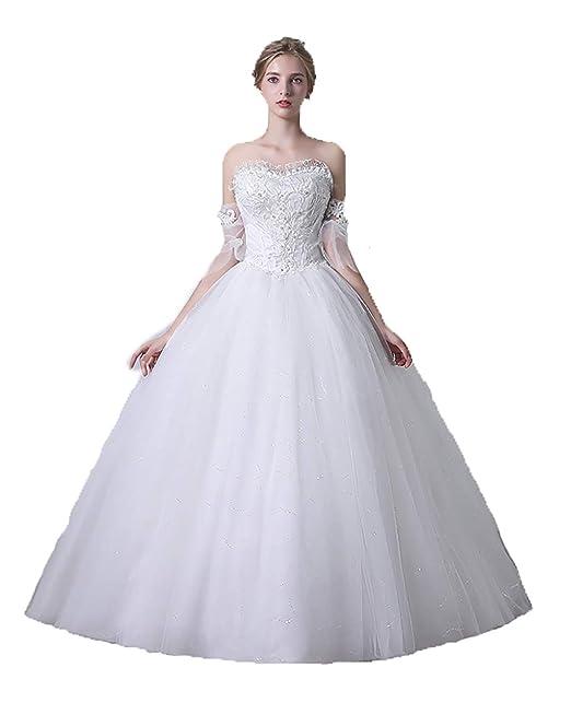 Amazon.com: Royal sin Mangas Blanco Perlas Vestido de Novia ...