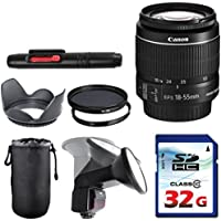 Canon EF-S 18-55mm f/3.5-5.6 IS II Lens Bundle + Commander UV Filter + Polarizer Filter + 2 In 1 Lens Cleaning Pen + High Speed 32GB Memory Card + Tulip Hood + Manual Flip Flash + Deluxe Lens Case