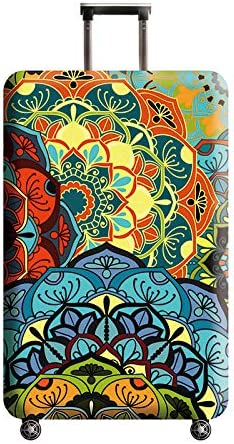 white 22-24 luggage Cupcinu Bohemian Travel Suitcase Protector Creative Mandala Floral Luggage Cover Protector Fits 18-32 Inch M