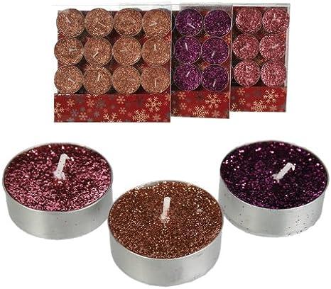 50% de réduction les plus récents meilleure sélection de 12 Bougies Chauffe-Plat avec paillettes en cuivre, rose ...
