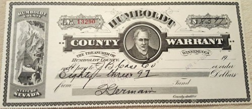 1928 HUGE ORNATE HUMBOLDT COUNTY NEVADA TREASURY WARRANT Hand SIgned by County Auditor 1920's-30's $ Amount Varies Choice Crisp Uncirculated