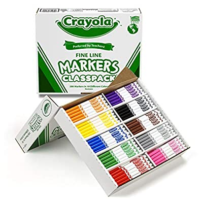 Crayola Fine Line Markers, Back to School Supplies Classpack, 10 Assorted Colors , 200 Count: Toys & Games