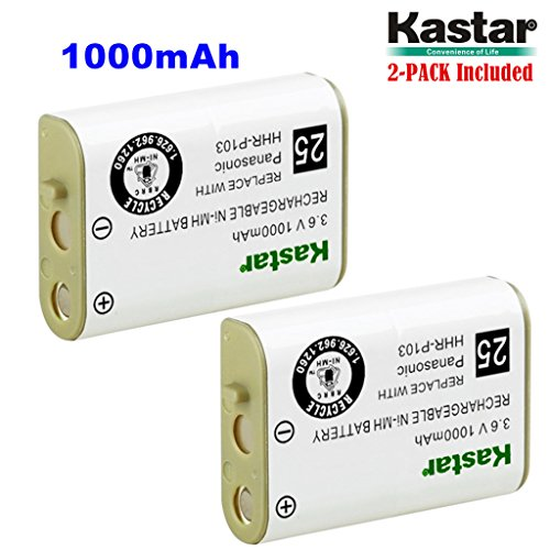 Kastar HHR-P103 Battery (2-Pack), Type 25, NI-MH Rechargeable Battery 3.6V 1000mAh, Replacement for Panasonic HHR-P103 / P-P103, AT&T, GE, Vtech Cordless phone (Detail Models in the Description)