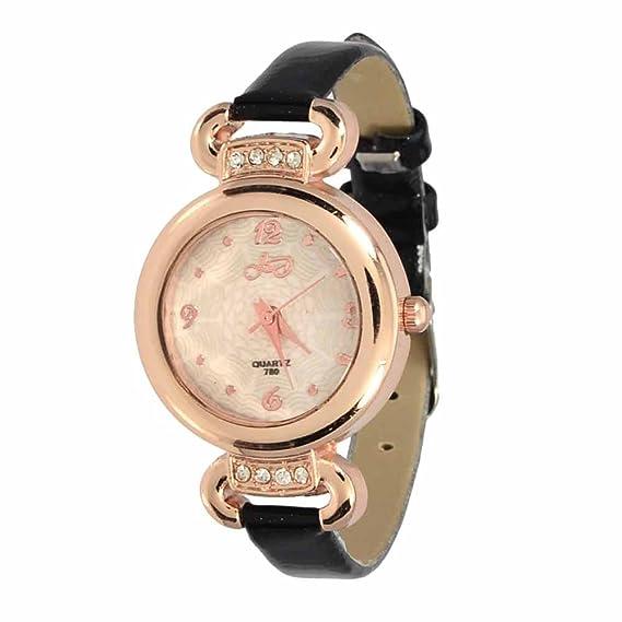 Reloj de Pulsera Agujas quarzo Cuero Joya Reloj Mujer Hera Negro Regalo: Amazon.es: Relojes