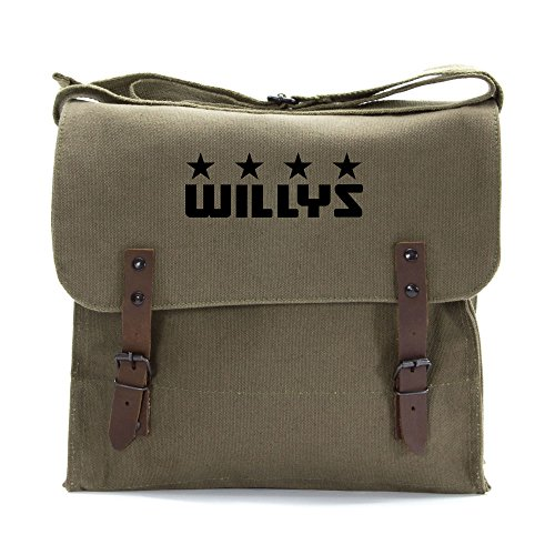 Freedom Army Star - Willys Jeep Freedom Stars Military Army Heavyweight Canvas Medic Shoulder Bag in Olive & Black