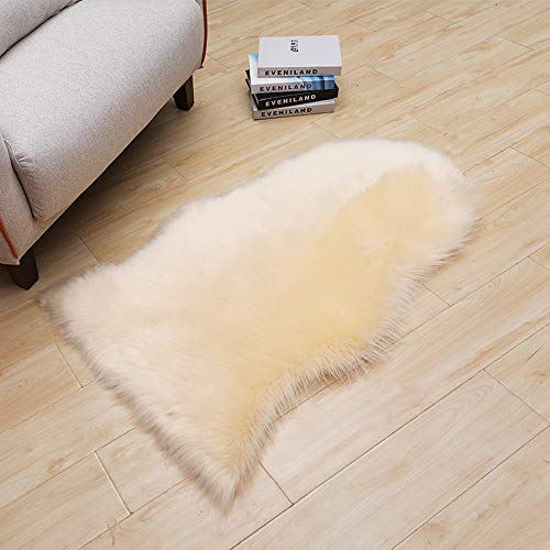 LOCHAS Silky Soft Faux Fur Rug Sheepskin Throw Chair Sofa Cover for Bedroom 2'x3', Fluffy Bedside Area Rugs Floor Carpet, Machine Washable, Beige
